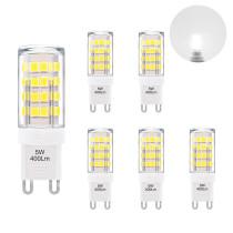 Cool White 6000K 5W G9 GU9 LED Capsule Light Bulbs Small Corn Lamp Bulbs 400Lm Replace 40W G9 Halogen Light Bulbs 6 Pack by Enuotek