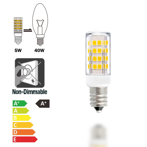 E12 SES LED Light Bulbs Capsule Bulbs Small LED Corn Light Bulbs 5W AC110-120V 400Lm Warm White 3000K Chandelier Candelabra Light Bulbs 6 Pack