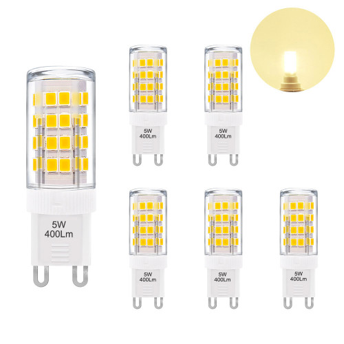 5W G9 GU9 LED Light Bulbs Capsule Bulbs Small Corn Light Bulbs Warm White 3000K 400Lm AC220-240V Replace 40W G9 Halogen Lamp 6 Pack