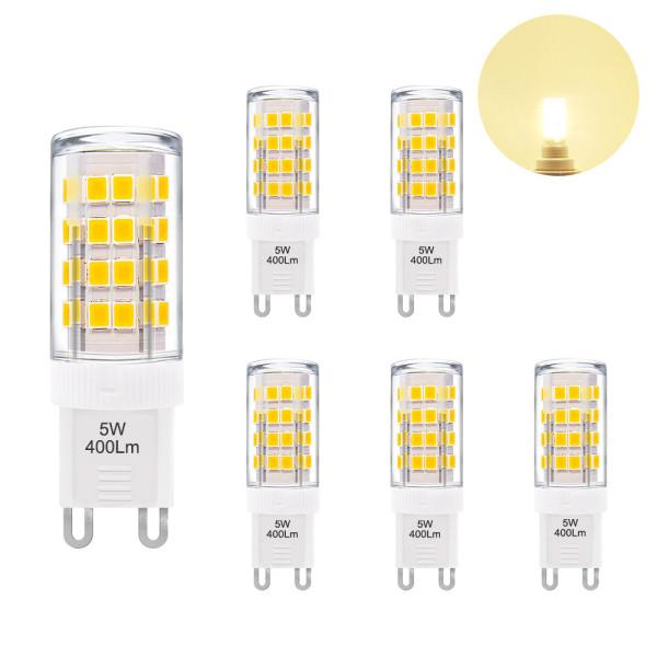 5W G9 GU9 LED Light Bulbs Capsule Bulbs Small Corn Light Bulbs Warm White 3000K 400Lm AC220-240V Replace 40W G9 Halogen Lamp 6 Pack