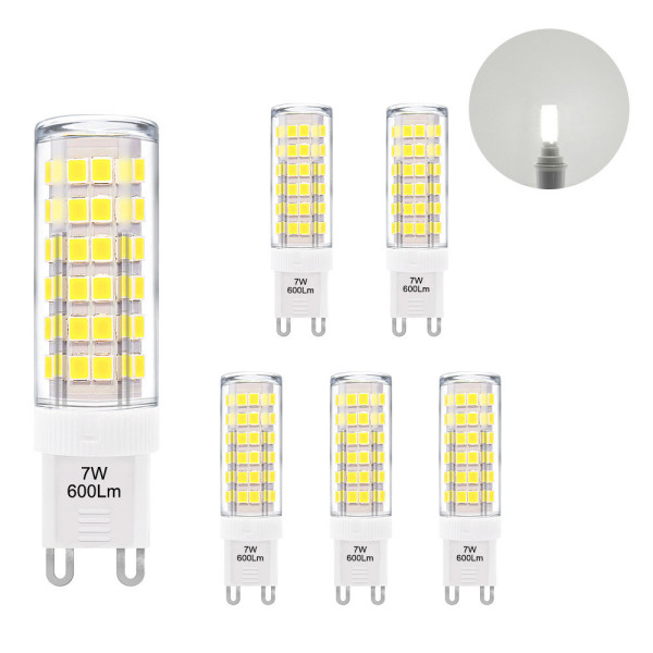 Super Bright 7W G9 GU9 Miniature LED Light Bulbs Capsule Corn Lamp Bulbs Cool White 6000K 600Lm Replace 60W G9 Halogen Light Bulb 6 Pack
