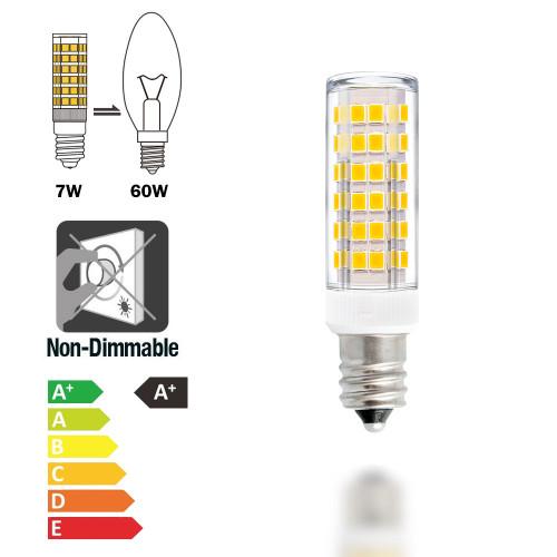 Super Bright 7W E12 SES LED Small Light Bulbs Capsule Light Bulbs Corn Lamp Bulbs AC110-120V 600Lm Warm White 3000K Replace 60W Incandescent Halogen Candle Light Bulb 6 Pack