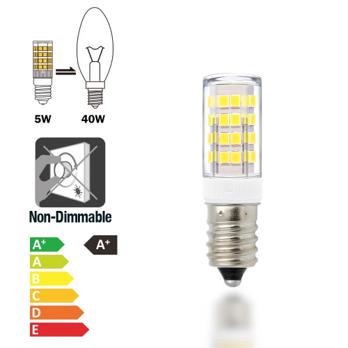 E14 SES Small Screw LED Capsule Corn Light Bulbs 5W 400Lm Cool White 6000K AC220-240V Replace 40W Incandescent Candle Light Bulbs for Chandelier Candelabra Mirror Lamps 6 Pack