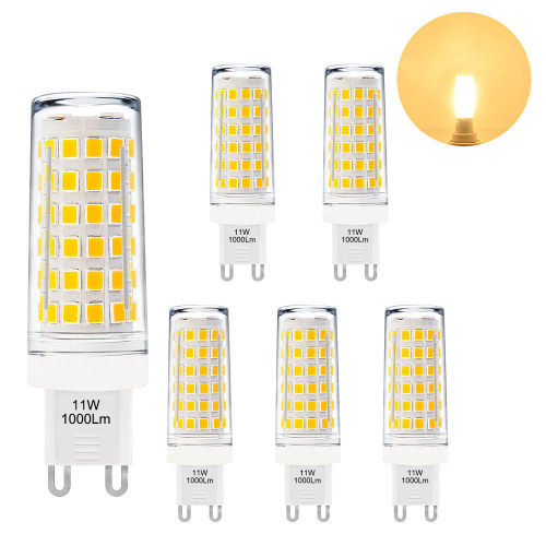 The Brightest G9 GU9 LED Capsule Light Bulbs 11W 1000Lm Small Corn Light Bulbs Warm White 3000K Much Brighter than 60W G9 Halogen Light Bulb 6 Pack