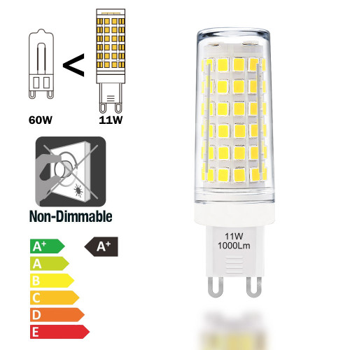 The Brightest G9 GU9 LED Small Corn Capsule Light Bulbs 11W 1000Lm Cool White 6000K Omnidirectional Lighting Much Brighter than 60W G9 Halogen Light Bulb 6 Pack