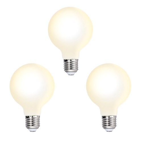 Edison E27 G80 LED Globe Light Bulbs Type G Energy Saving LED Light Bulbs Diameter 80MM 6W Omnidirectional Warm White Lighting 3000K with Glass Lamp Shade 3 Pack
