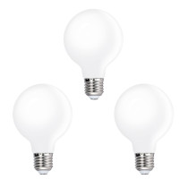G80 LED Medium Globe Energy Saving Light Bulbs Type G Diameter 80MM Cool White 5000K 6W Omnidirectional Lighting Replace 60W Incandescent Light Bulb 3 Pack