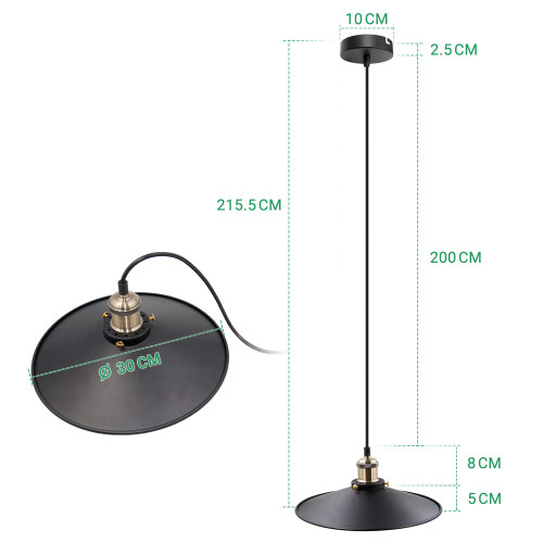 Black Pendant Light Shade Vintage Metal Ceiling Hanging Lamp Shade Pendant Light Fixture for Kitchen Dining Room Restaurant Maximum 2 Meters Suspension Height