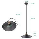 Black Pendant Light Shade Vintage Metal Ceiling Hanging Lamp Shade Pendant Light Fixture for Kitchen Dining Room Restaurant Maximum 2 Meters Suspension Height