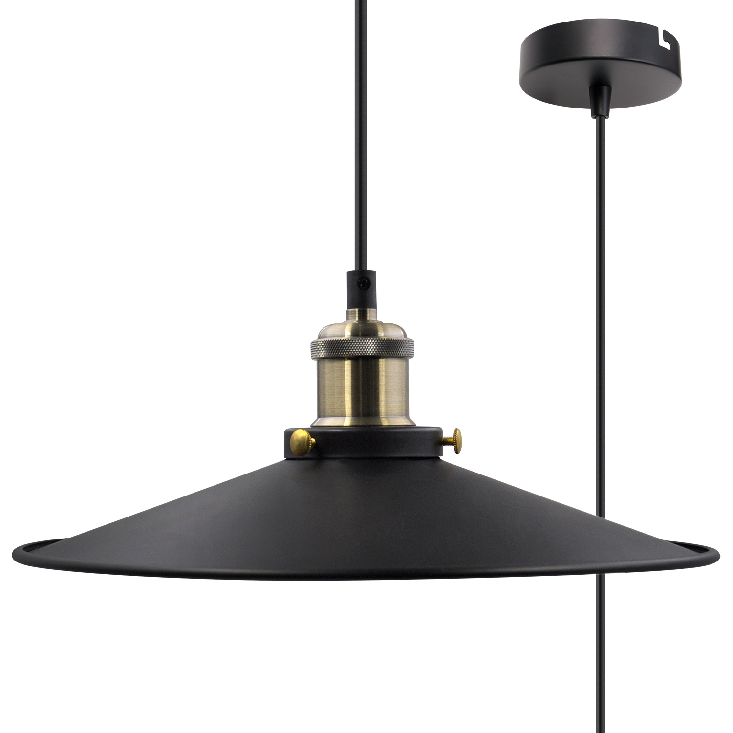 Black Pendant Light Shade Vintage Metal Ceiling Hanging Lamp Fixture For Kitchen Dining Room Restaurant Maximum 2 Meters Suspension