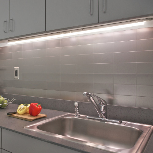 Connectible Hardwired 9W Kitchen LED Lighting Bars Under Cabinet Hard Strip Lamps 4000K Neutral White Lamp Length 573MM with European Power Plug Pack of 2 Lamps