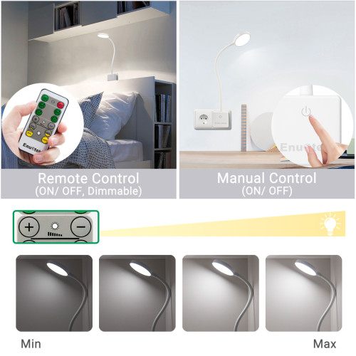 Remote Control Plug In Flexible LED Bedside Reading Night Lamp Dimmable Power Socket Light 4W 350Lm Natural White Lighting 5000K European Power Plug 1 Lamp and 1 Remote