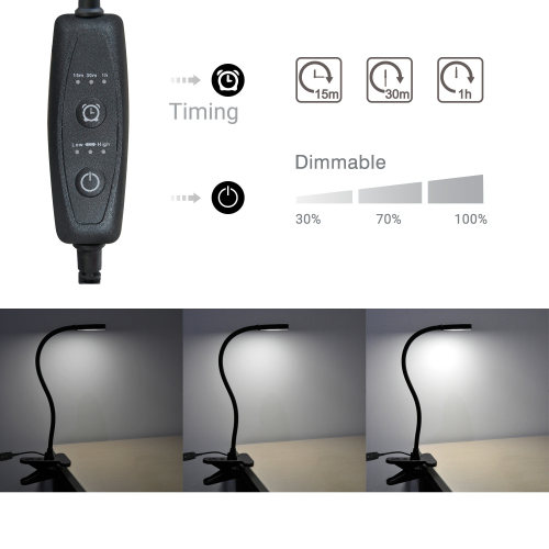 USB Powered Black Dimmable 4W LED Table Light Desk Reading Lamp Laptop Light with Clamp, Timer Function, Flexible Gooseneck, Eye Care Daylight Lighting