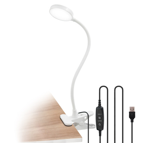 White Dimmable Clip On 4W LED Table Light Desk Reading Lamp Computer Light with USB Port, Timer Function, Flexible Gooseneck, Eye Care Daylight Lighting