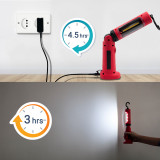 Rechargeable LED Work Light Cordless LED Inspection Lamp Rechargeable LED Torch- Foldable and Multi Angles Adjustable- Strong Magnetic Base- Essential Tool Light for Working, Inspection, Emergency and Camping