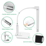 Touch Dimmable Desktop and Clip On Functional LED Desk Lamp Table Reading Light Work Lamp with Rotatable Lamp Head and Max. 7CM Clamp Thickness Eye Care White Lighting Color