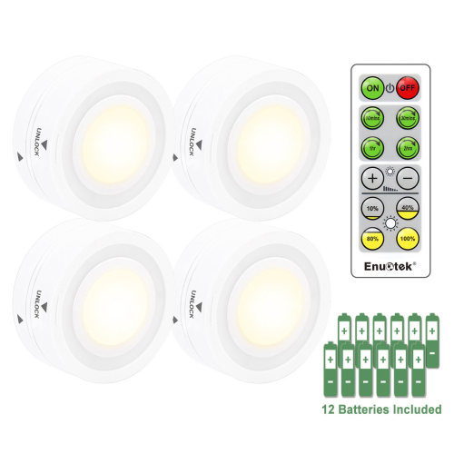 Wireless Remote Control LED Puck Night Lights LED Cabinet Lamps with Dimmable and Timer Functions Warm White Lighting 4 Lamps and 1 Remote