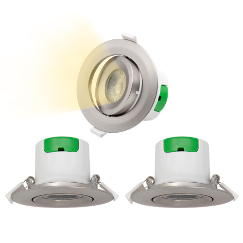 Nickel Plating Directional LED Recessed Ceiling Spot Lamps Spotlight Downlights Warm White 3000K Cut Hole Diameter 70-75MM AC100~240V 3 Pack