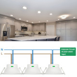 Dimmable 12W LED Kitchen Bathroom Ceiling Recessed Downlights Ceiling Lamps CCT Adjustable 3000K/ 4000K/ 5000K 220V-240V Ceiling Hole Diameter 120-140MM IP44 Dampproof 3 Lamps