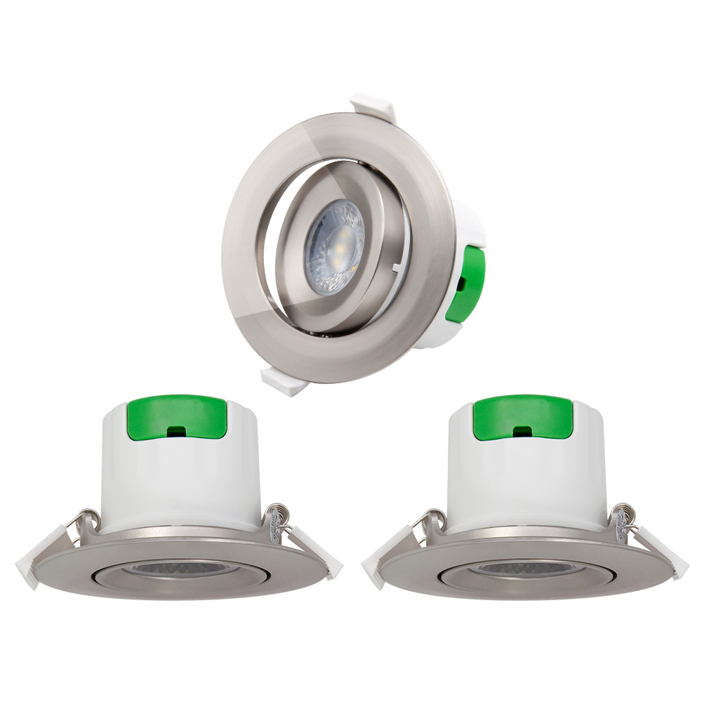 Nickel Plating Angled Recessed LED Spot Ceiling Downlights Spotlights Ceiling Lamps Cool White 5000K Cut Hole Diameter 70-75MM AC100~240V 3 Pack