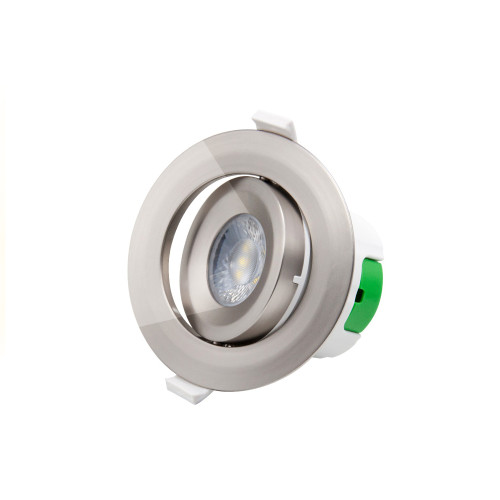 Nickel Plated Directional Tilt LED Ceiling Recessed Spot Lamp Plastic Downlight Cool White 5000K Cut Hole Diameter 70-75MM AC100~240V 1 Pack