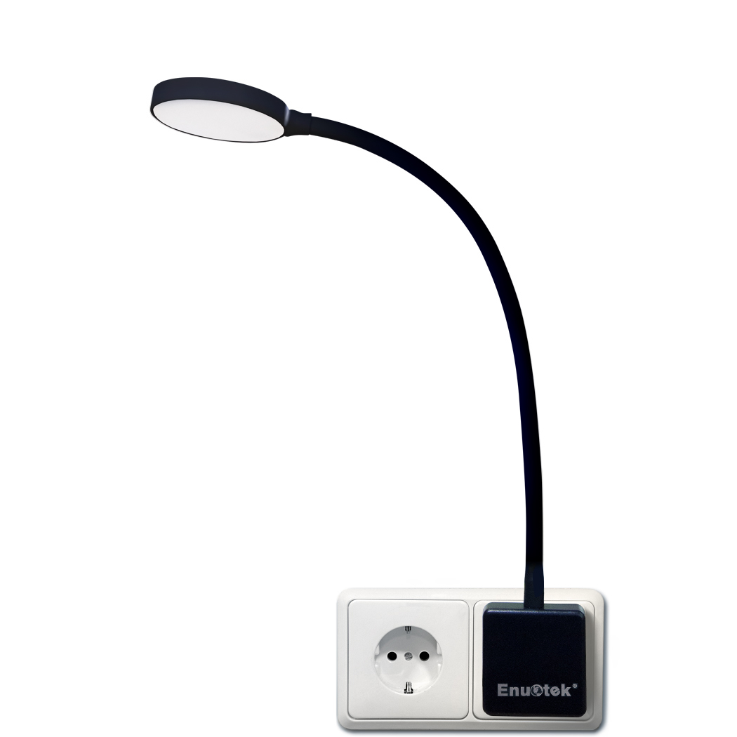 Plug In Dimmable Led Wall Night Light Swing Arm Lamp With Outlet Socket 4w 350lm Natural White Lighting 5000k Non Remote Controlled Version