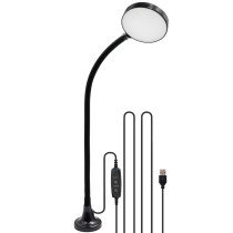 USB Operated Magnetc Dimmable LED Work Table Reading Light Workshop Lamp with Adjustable Gooseneck and Timer Function, Daylight 5000K, Length 3 Meters USB Cable