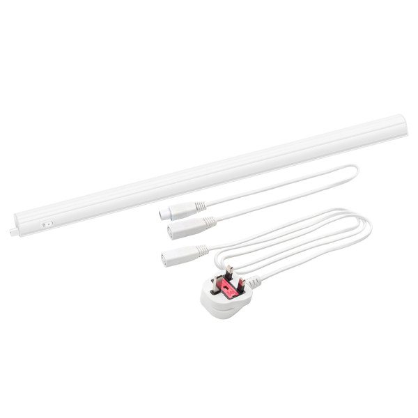 Connectible T5 9W LED Under Cupboard Light Tube Kitchen Worktop Lamp Neutral White 4000K Length 573MM with British Power Plug Replace T5 Fluorescent Light Fixture Pack of 1 Lamp