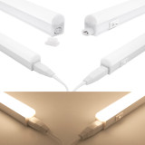 Connectible Hardwired 9W Kitchen LED Lighting Bars Under Cabinet Hard Strip Lamps 4000K Neutral White Lamp Length 573MM with British Power Plug Pack of 2 Lamps