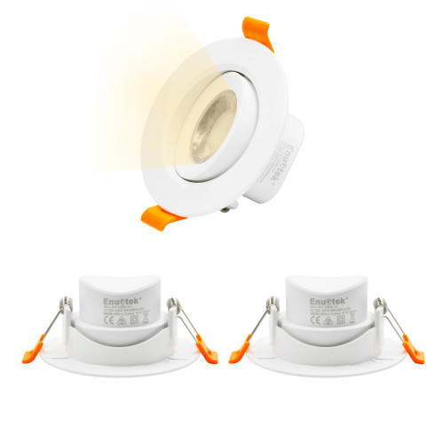 Directional 6W LED Recessed Ceiling Lights Halogen Replacement Small LED Downlights Warm White 3000K for Sloped Ceiling, Cut Hole Diameter 70-80MM AC100~240V, 3 Pack by Enuotek