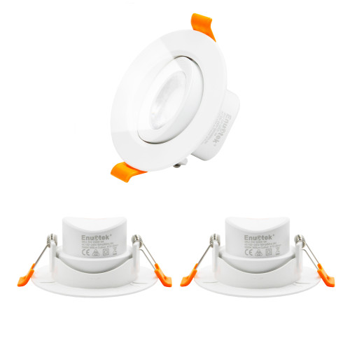 Directional 6W Small LED Recessed Downlight Vaulted Ceiling LED DownLights Cool White Lighting 5000K, Ceiling Cut Hole Diameter 70-80MM AC100~240V, 3 Pack by Enuotek