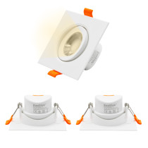 Square LED Ceiling Spot Lamps 2.5 Inch Retrofit Halogen LED Downlight for Vaulted Ceiling, Adjustable Spotlight 6W Warm White 3000K Cut Hole Diameter 70-80MM AC100~240V, 3 Pack by Enuotek