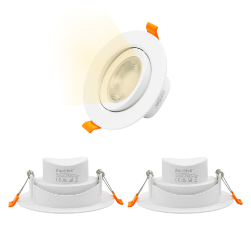 Directional 9W LED Recessed Ceiling Spot Downlights Energy Saving Ceiling Light Fixture Warm Light 3000K Cut Hole Diameter 90-100MM AC100~240V Lighting Direction Adjustable, 3 Pack by Enuotek