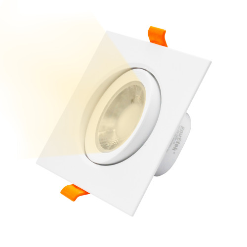 Square Angled LED Spot Downlight Recessed Lamp 3 Inch Warm Light LED for White Ceiling, 6W Warm White 3000K Cut Hole Diameter 90-100MM AC100~240V 40º Lighting Angel, 1 Pack by Enuotek