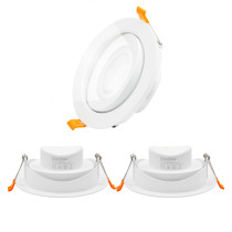 Directional 12W Cool White 5000K LED Sloped Recessed Ceiling Down Lights Directional LED Spot Lamps, 40º Beam Angel Cut Hole Diameter 120-130MM AC100~240V with Built-in LED Driver, 3 Pack by Enuotek