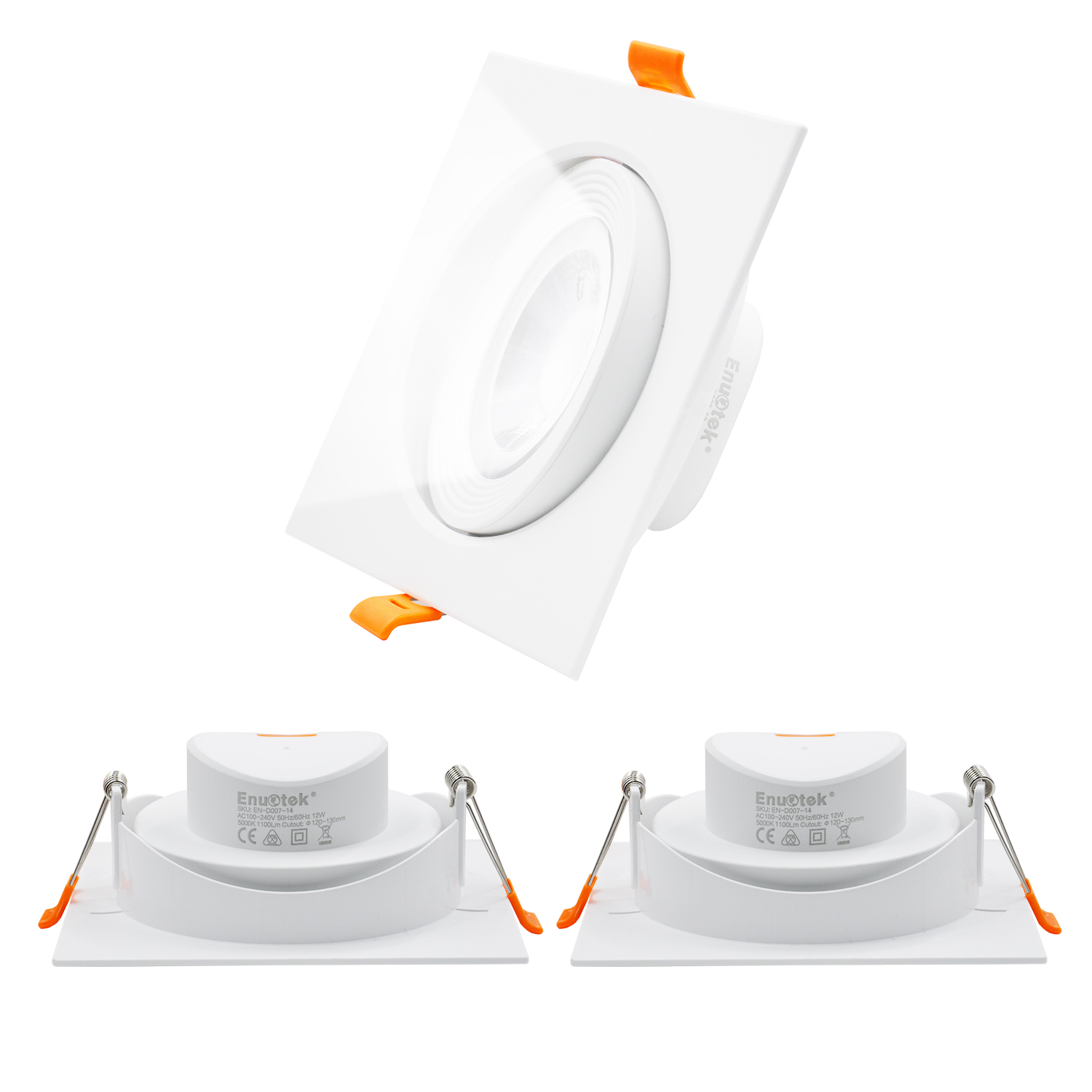 4 Inch Square Recessed Ceiling LED Down Lights Directional 12W with Built-in Driver LED Spotlights Cool White 5000K Halogen Bulbs Equivalent Cut Hole Diameter 120-130MM AC100~240V, 3 Pack by Enuotek