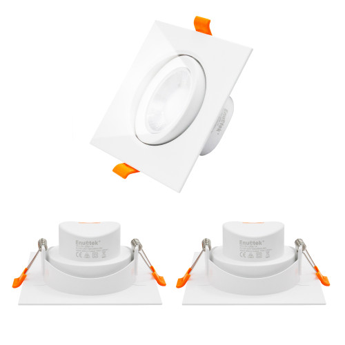 9W Angled Square LED Recessed Ceiling Lights Retrofit Halogen Spotlight Cool White Lighting 5000K Down Lights LED for Sloped Ceiling, Cut Hole Diameter 90-100MM Beam Angle 40°, 3 Pack by Enuotek