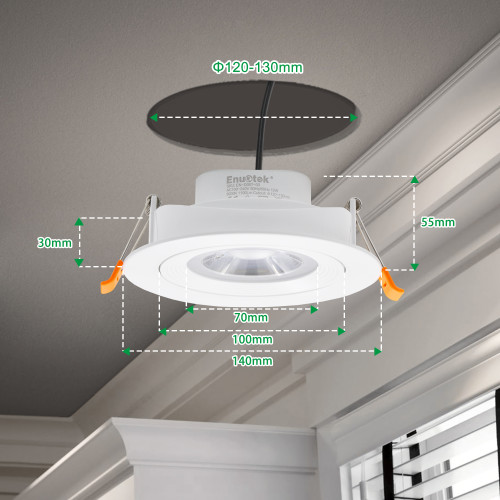 Directional 12W LED Recessed Ceiling Spotlight Vaulted Ceiling LED Down Light Cool White 5000K Cut Hole Diameter 120-130MM AC100~240V 4 Inch Rotatable Downlight, 1 Pack by Enuotek