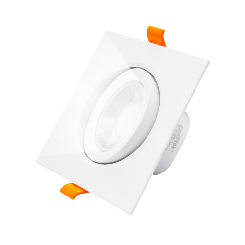 Cool white 5000K LED Down Light Angled Square 9W LED Recessed Vaulted Ceiling Spotlight, Cut Hole Diameter 90-100MM AC100~240V Lighting Direction Adjustable, 1 Pack by Enuotek