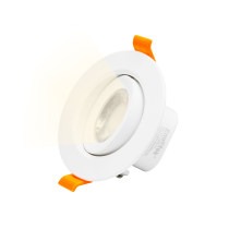 LED Recessed Ceiling Spot Downlight Direction Adjustable DownLights Living Room Lighting Warm White 3000K, 6W Cut Hole Diameter 70-80MM AC100~240V 40º Beam Angel, 1 Pack by Enuotek