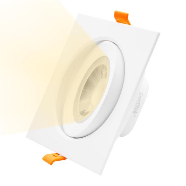4 Inch Square 12W LED Downlight Lighting Direction Adjustable LED Spotlight for Sloped Ceiling Warm White 3000K Cut Hole Diameter 120-130MM AC100~240V 40° Beam Angel, 1 Pack