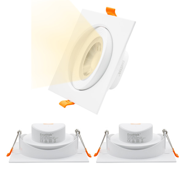 Square White 12W LED Spot Lamps Angled Recessed Ceiling Downlights 40° Beam Angel Downlights, Warm White 3000K for Sloped Ceiling Cut Hole Diameter 120-130MM AC100~240V, 3 Pack by Enuotek