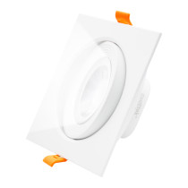 Square White LED Recessed Ceiling Down Light Angled LED Spot lamp Energy Saving Ceiling Light Fixture 12W Cool White 5000K LED Spotlight Cut Hole Diameter 120-130MM AC100~240V, 1 Pack by Enuotek