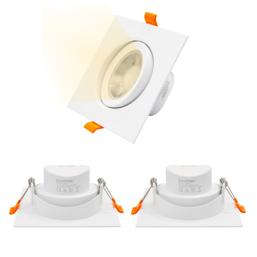 Square White 9W LED Downlight Rotatable ±20° Recessed Ceiling LED Spotlight Beam Angle 40°, Warm White 3000K Lighting Direction Adjustable, Cut Hole Diameter 90-100MM AC100~240V, 3 Pack by Enuotek