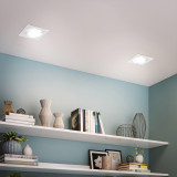 Square White 12W LED Recessed Ceiling Down Light Angled LED Spot lamp Energy Saving Ceiling Light Fixture Cool White 5000K LED Spotlight Cut Hole Diameter 120-130MM AC100~240V, 1 Pack