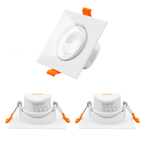 6W Square LED Downlights Angled Recessed Ceiling Lights LED Halogen Replacement Spotlight Cool White 5000K Cut Hole Diameter 70-80MM AC100~240V Lighting Direction Adjustable 3 Pack by Enuotek