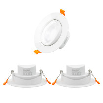 Directional 9W LED Recessed Spot Downlights Vaulted Ceiling LED Spot Lamps Cool White Lighting 5000K 800 Lumen, Cut Hole Diameter 90-100MM AC100~240V Lighting Direction Adjustable, 3 Pack by Enuotek