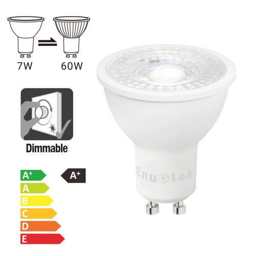 Dimmable 7W GU10 LED Spotlight Downlight Track Spot Light Bulbs Cool White 5000K 650Lm Brightness AC185~265V Replace 60W Halogen Lamp 12 Pack by Enuotek