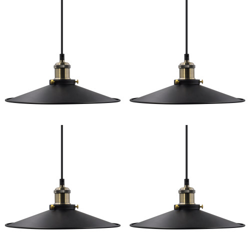 Vintage Kitchen Island Dining Room Black Metal Pendant Lamps Hanging Light Shade Fixtures Maximum 2 Meters Suspension Height Adjustable Lamp Shade Diameter 30CM 4 Pack by Enuotek