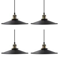 Vintage Kitchen Island Dining Room Black Metal Pendant Lamps Hanging Light Shade Fixtures Maximum 2 Meters Suspension Height Adjustable Lamp Shade Diameter 30CM 4 Pack by Enuotek